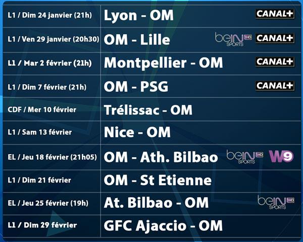 Calendrier Des Matchs De Lom.Le Calendrier Charge De L Om Jusqu A Fin Fevrier Saison