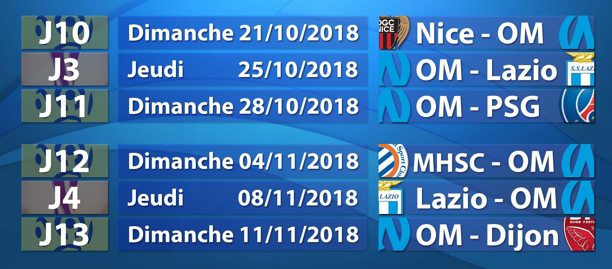 Calendrier Des Matchs De Lom.Six Matchs Et Un Casse Tete Pour L Om Saison Om