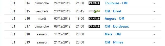 Calendrier Des Matchs De Lom.L Om Lance Vers Un Calendrier Tres Favorable Saison Om
